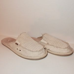 Sanuk Slides Sandals Loafers Size 11 Canvas Tan